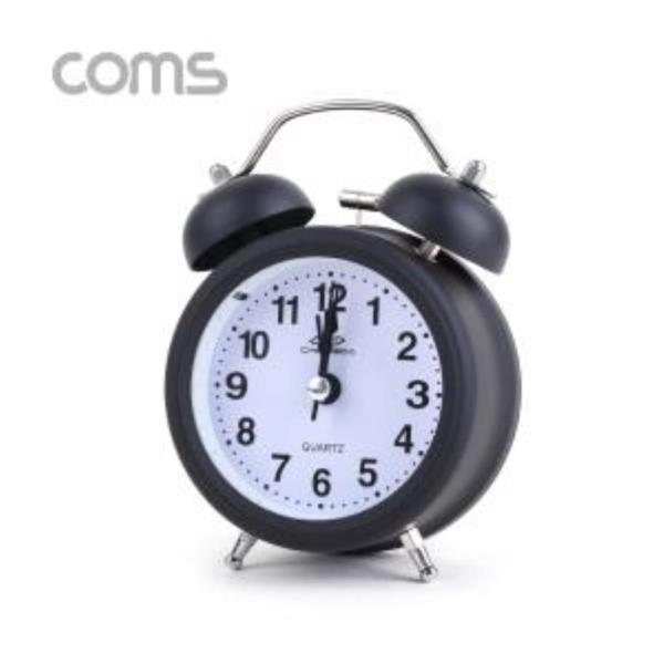 탁상용 아날로그 시계 블랙 알람시계 원형 무소음