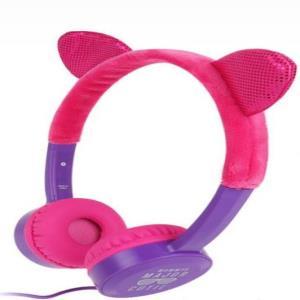 코스튬 디자인 키즈 청력보호 핑크 유선헤드폰