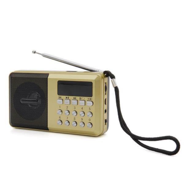 휴대용 시계 미니 효도 FM 라디오 고출력 스피커 골드