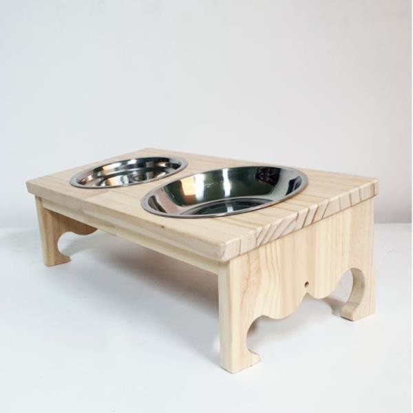 강아지 고양이 2구 스텐레스 급식기 급수기 기울기 원목 식탁 물 밥그릇