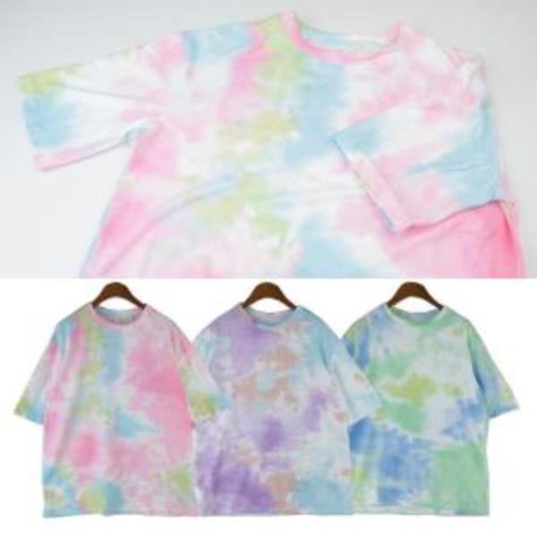 메리노 물감 나염 반팔 티셔츠 200319