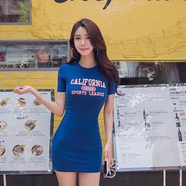 롤리 캘리포니아 영문 프린팅 반팔 원피스 200524☆
