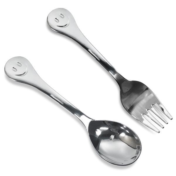 스텐 상일 스마일 유아용 포크 숟가락