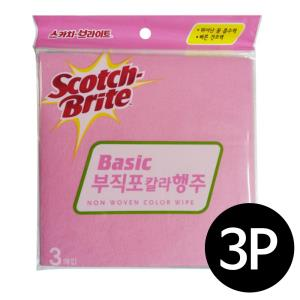 3M 스카치 브라이트(베이직)부직포 칼라행주 3매입