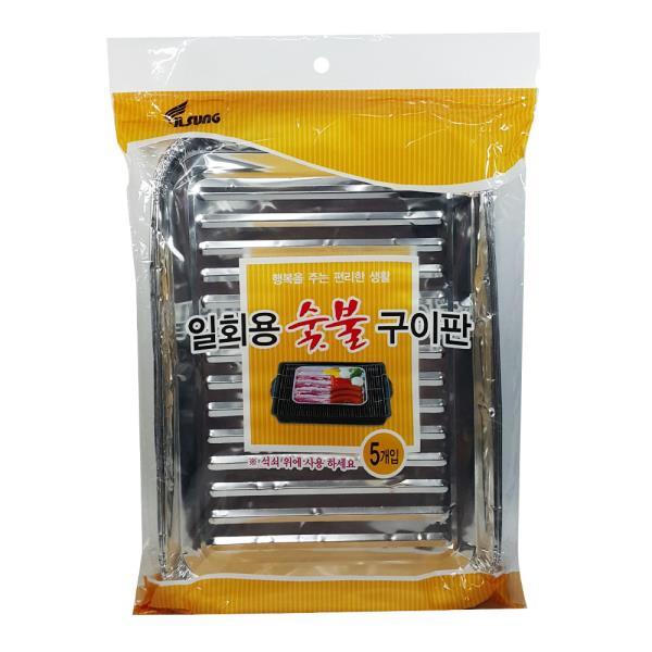 일회용 숯불구이판5P 은박 고기판 바베큐 캠핑 삼겹살