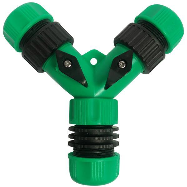 3방향 Y형호스연결구-밸브차단형(녹색)Y형호스연결기