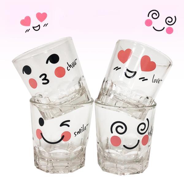 취하는 소주잔4P(웃음)예쁜술잔 유리잔 소주컵 스마일