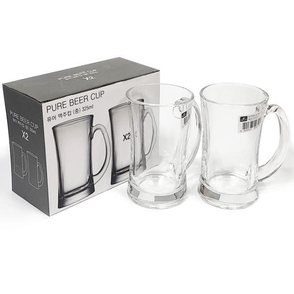 아트 퓨어 맥주컵2P(중325ml) 글라스컵 유리컵 맥주잔