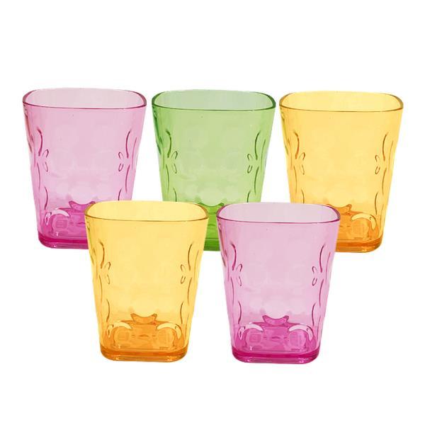 물방울 (사각)물컵(대9.3cm)x(5개) 유리컵 플라스틱잔