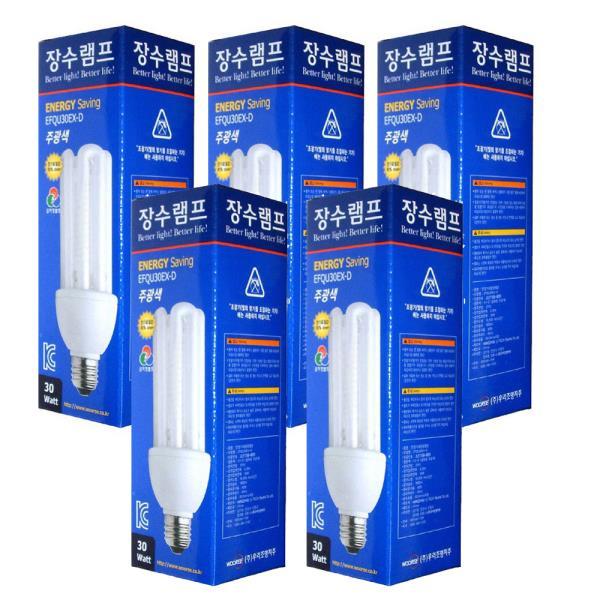 장수 삼파장전구30W x(5개) 주광색 전구색 삼파장