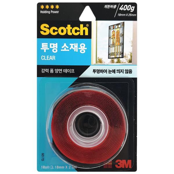 3M 강력 폼 양면테이프 (투명소재용18mmX2M) CL120