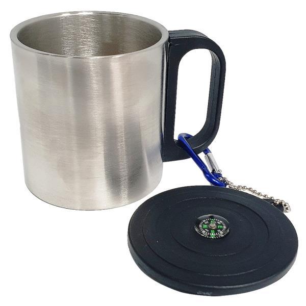 영스타 나침반 이중등산컵(200ml) 휴대용 스텐컵 캠핑