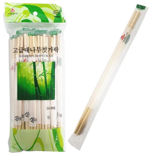 영수 고급 대나무 젓가락 30P 둥근 일회용젓가락 위생