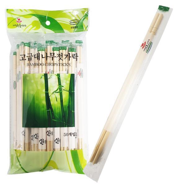 영수 고급 대나무 젓가락 50P 둥근 일회용젓가락 위생