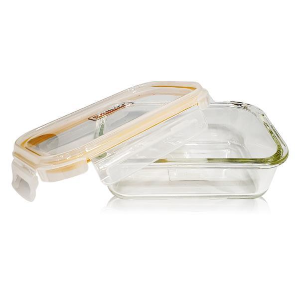 유리그릇 오븐락 찬통 직사각 2호 640ml 유리반찬통 밀폐용기
