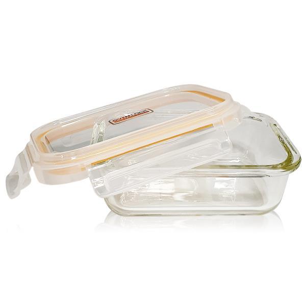 유리그릇 오븐락 찬통 직사각 1호 370ml 유리반찬통 밀폐용기