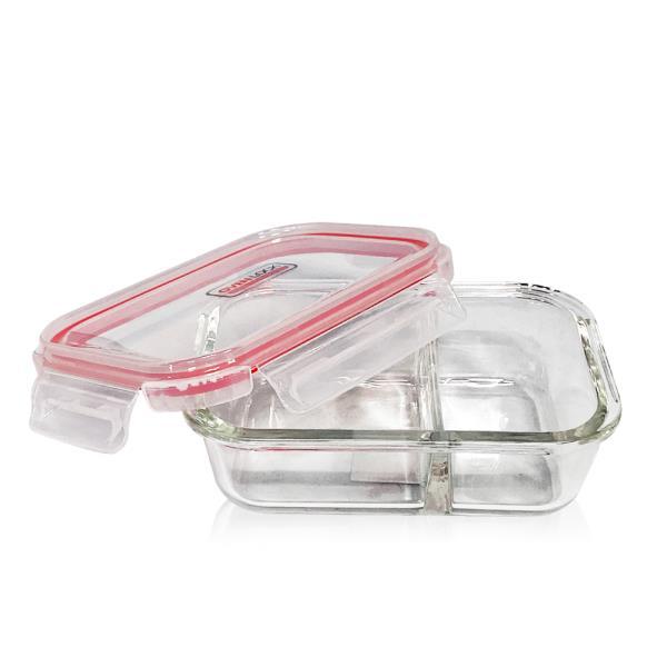 유리반찬통 오븐락 나눔찬통 2구 640ml 유리반찬통 칸막이 밀폐