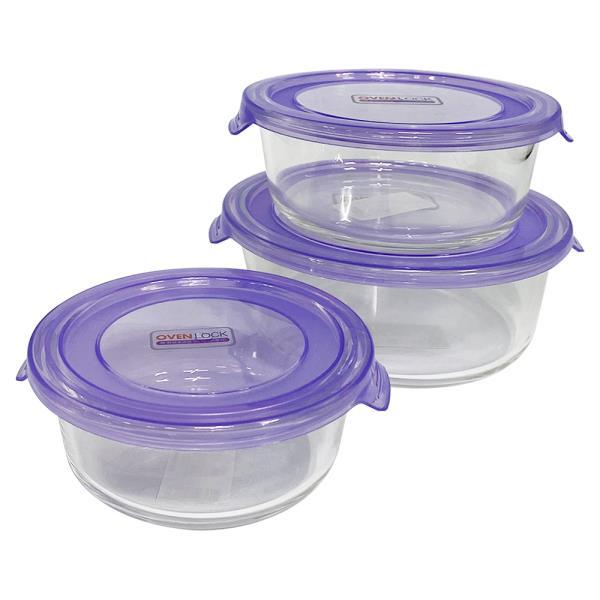 유리그릇 오븐락 찬기 원터치 원형 선택 유리반찬통 밀폐용기