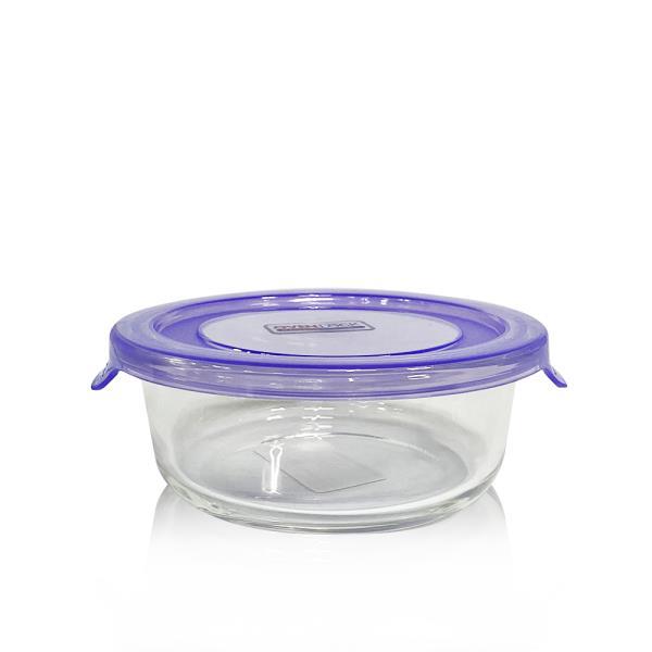유리그릇 오븐락 원터치 찬기 원형 1호 400ml 유리반찬통 밀폐