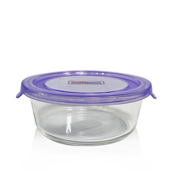 유리그릇 오븐락 원터치 찬기 원형 2호 620ml 유리반찬통 밀폐