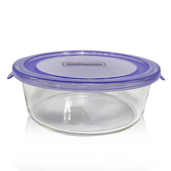유리그릇 오븐락 원터치 찬기 원형 3호 950ml 유리반찬통 밀폐