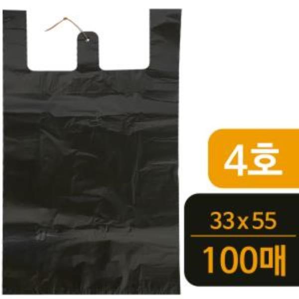 T4호 검정 비닐봉지100매 비닐봉투 시장봉지 마트봉지