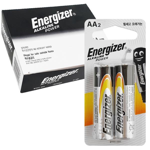 알카라인건전지 에너자이저 알카라인 AA 건전지 2p x1박스 20개