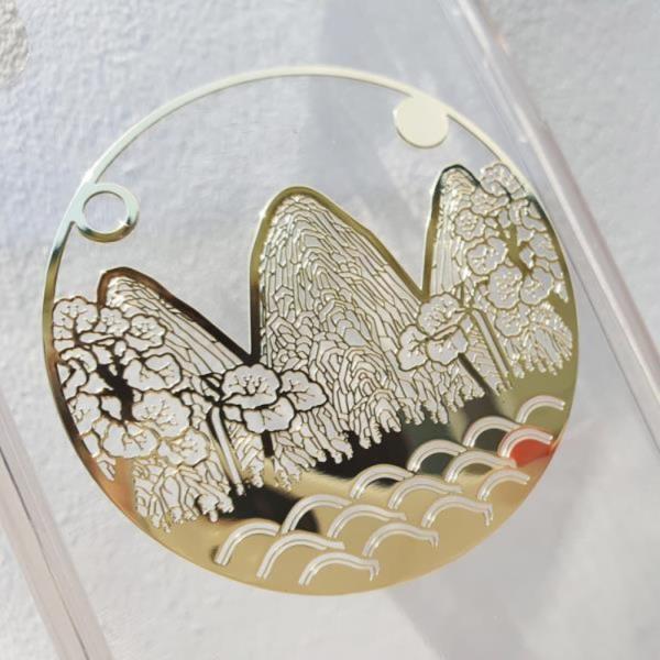 왕에 반하다 골드 일월오봉도 전통 문양 메탈 스티커