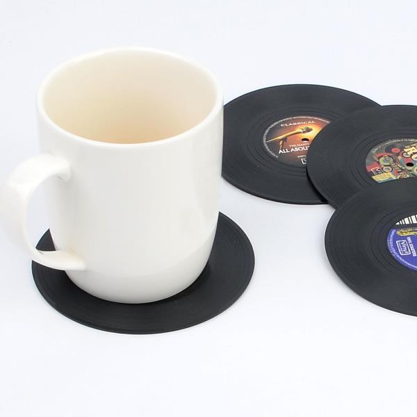 4P 레코드판 모양 컵받침