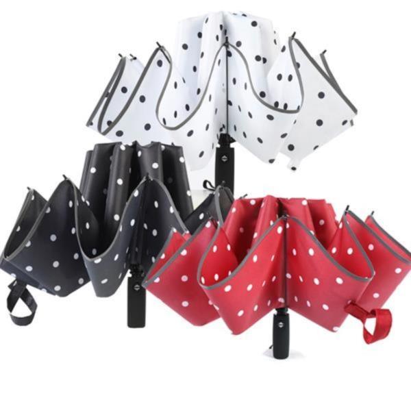 10k 땡땡이 3단 자동 거꾸로우산 UV차단 암막 우산